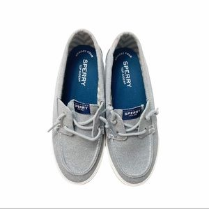 NIB Sperry lounge Away silver boat shoes